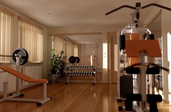 Изображен домашний тренажерный зал и тренажеры для дома