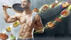 мужчина жонглирует продуктами