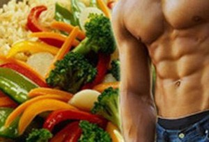 на картинке изображен торс мужчины и овощи