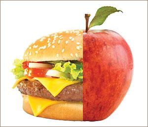 Гамбургер или яблоко?